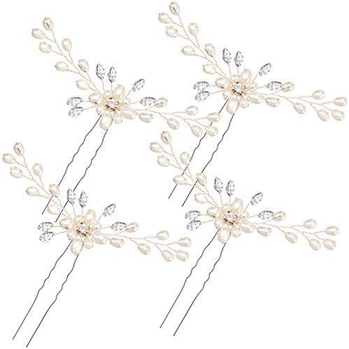 4 Pieces Pearl Hair Pins Bridal Hair Pins Wedding Pearl Rhinestones Headpiece Bride Hair Accessories product image