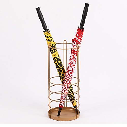 DSWHM Paraguas sostenedor del Metal paragüero Interior al Aire Libre, Paraguas de pie en Rack for el Ministerio del Interior (Color : Gold)