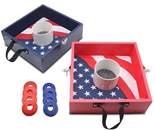 JST GAMEZ Premium Wooden Washer Toss Game Set Washers Game for Lawn Backyard Outdoor Games - Flag Pattern