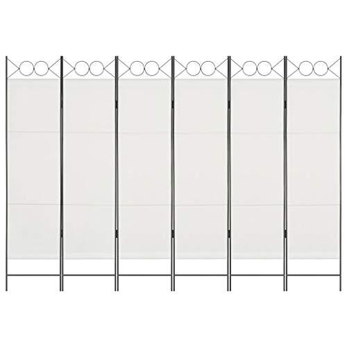 vidaXL Raumteiler 6-TLG. Klappbar Paravent Trennwand Umkleide Sichtschutz Spanische Wand Raumtrenner Raumtrennwand Schlafzimmer Weiß 240x180cm