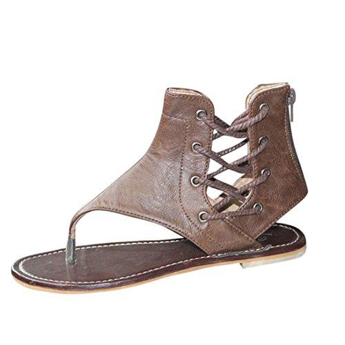 FNKDOR Damen Römersandalen Riemchensandalen Frauen Riemchen Flach Schuhe Sandalen(39,Braun)