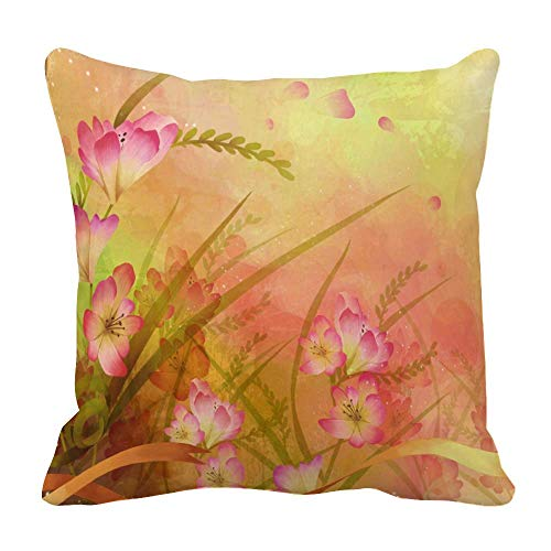 Perfecone Home Improvement - Funda de almohada de algodón doble moderno y elegante diseño floral abstracto con mariposas rojas y brillantes para sofá y coche, 1 paquete de 55 cm x 55 cm