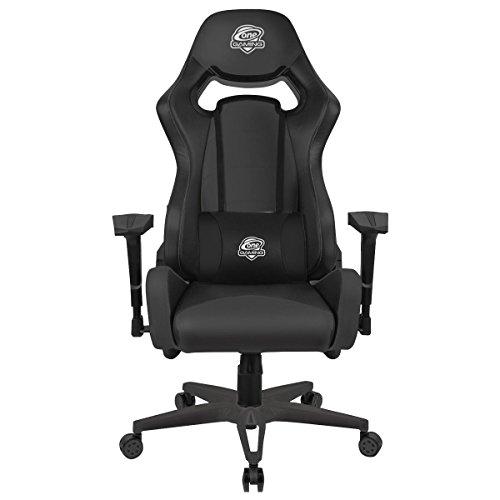 One Gaming Chair Ultra Black - Ergonomischer Gamingstuhl - Verstellbare Armlehne & Höhe - Inkl. Kissen - Maximalbelastung 130 Kg - Chefsessel - Bürostuhl - Schreibtischstuhl