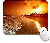ECOMAOMI 可愛いマウスパッド サンセットビーチサーフ 滑り止めゴムバッキングマウスパッドノートブックコンピュータマウスマット