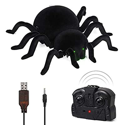 Globalstore Remote Control Joke Toys Car- Prank Fake Scare Robot Climbing with 8 Legs, Green LED Eyes, Scare Sound, Fun Practical Surprise Joke Car-Halloween Decorations Surprise Car Gift for Kids