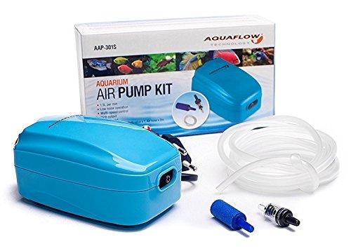 Aquaflow Technology® AAP-301S - Doppelluftpumpe für Tropenaquarien und fischbehälter mit freien Luftschlauch, Steine und HJS308 Rückschlagventil