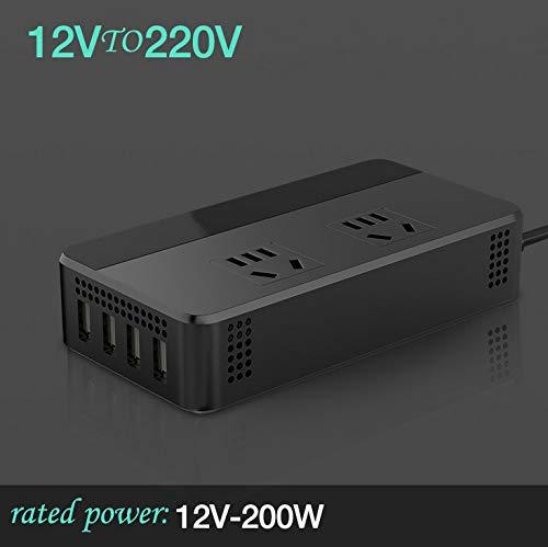 ACHICOO Auto Wechselrichter 12V / 24V bis 110V / 220V 200W Wechselrichter Spannungswandler mit 4 USB Ladegerät 12V gewidmet + China-Standard