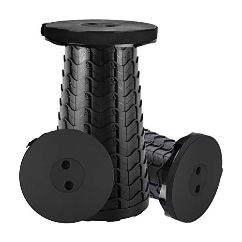 Taburete plegable, portátil retráctil para camping, color negro