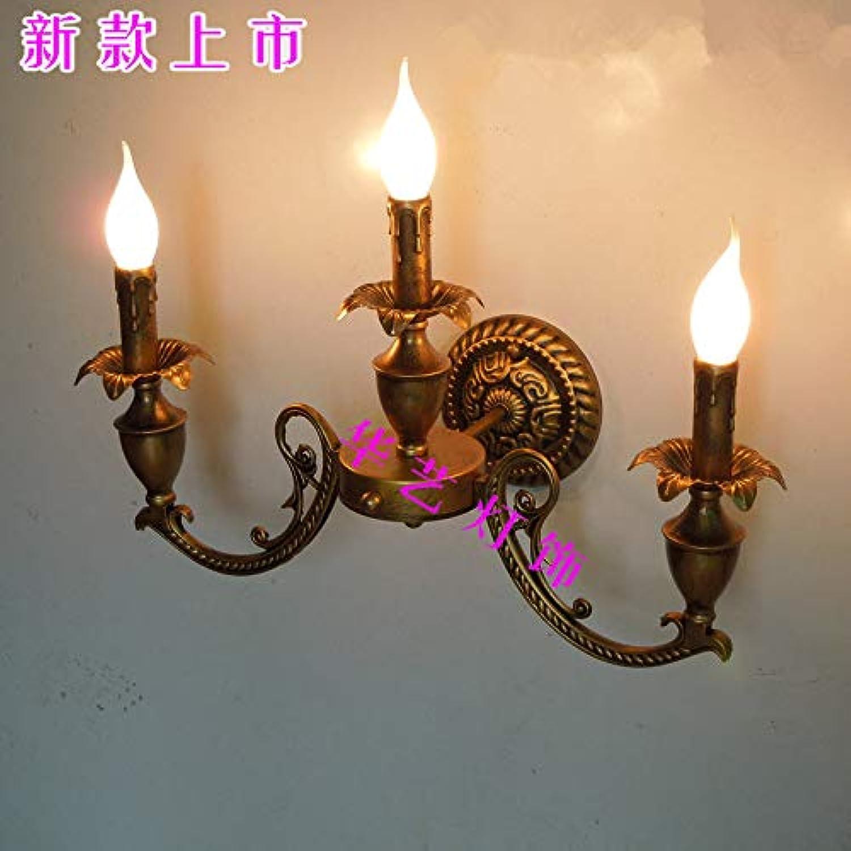 Europischen und amerikanischen Stil Schmiedeeisen Kerze 3 Scheinwerfer Ganglichter pastoralen Spiegel vorne Bad Lampe einfache LED Schlafzimmer Nachttischlampen, B