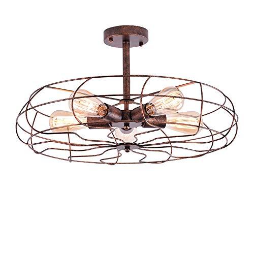 HMM77 Gunnia American Retro Fan plafondlamp, ventilator smeedijzeren semi-embedded plafondlamp, kroonluchter energiebesparend laag verbruik instelbaar met 5 gloeilampen