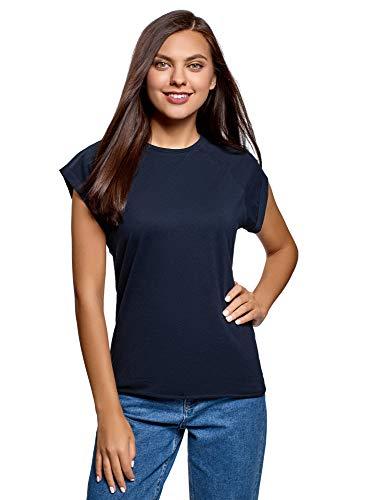 oodji Ultra Mujer Camiseta de Algodón Básica, Azul, ES 44
