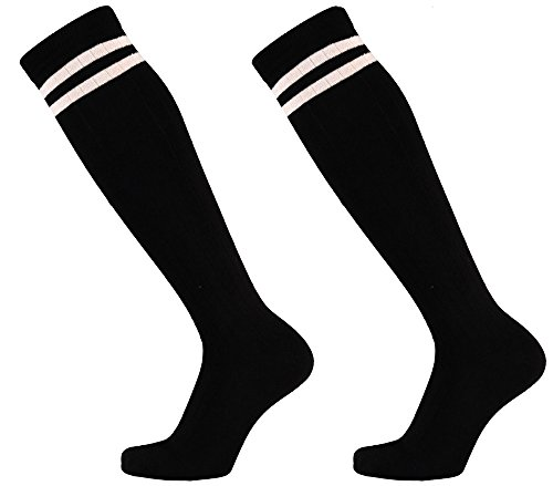 krautwear Damen Mädchen Cheerleader College (2 Paar) Kniestrümpfe 2 Streifen Gestreifte Overknees Sportsocken Knie-Lange Geringelte Strümpfe Geringelt Gestreift Streifen Schwarz Weiß 35-42 (2xbw)