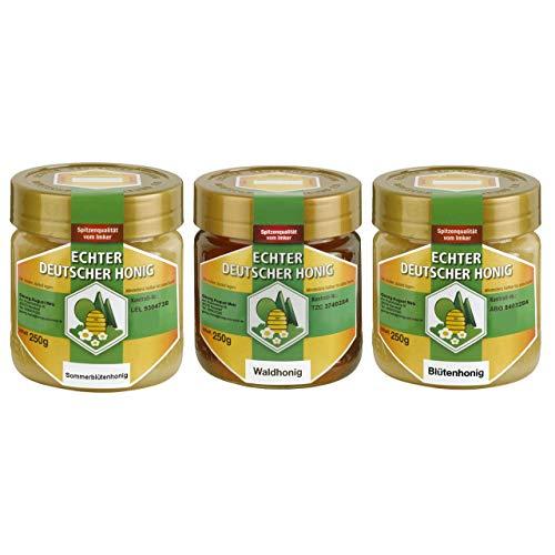 Echter Deutscher Honig. Set aus 3x250g. Waldhonig, Sommerblütenhonig und Blütenhonig. Ungefiltert, fein gesiebt - Geschmacksvielfalt eines ganzen Bienenjahres.