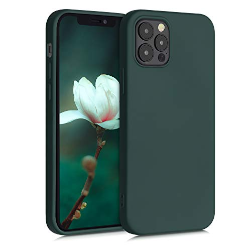 kwmobile Cover Compatibile con Apple iPhone 12/12 PRO - Custodia in Silicone Effetto Gommato - Cover Back Case Protezione Cellulare - Verde Muschio