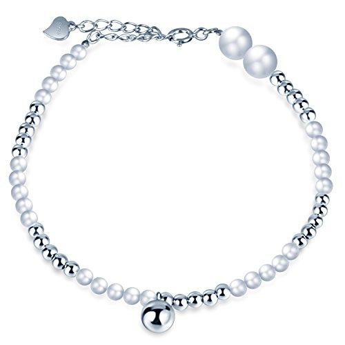 Infinite U - Pulsera de perlas de plata de ley 925 con cuentas simples, ajustable, plata, regalo para cumpleaños y Navidad