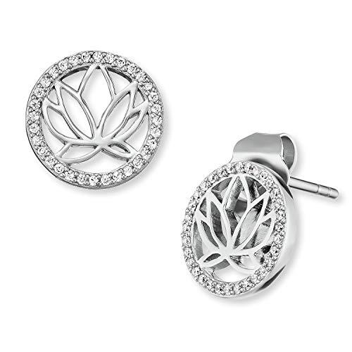 Engelsrufer - Lotusblüte Silberohrringe mit Zirkonia Stein weiß, Vintage Echtschmuck Ohrstecker für Damen, moderne glitzer Ohrringe aus 925 Sterling Silber rhodiniert