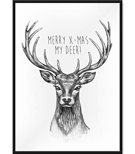 Papierschmiede® Premium Xmas-Poster   A4 Spruch-Poster Deko zu Weihnachten   Kunstdruck für den Bilderrahmen   Motiv: My Deer (Hirsch)