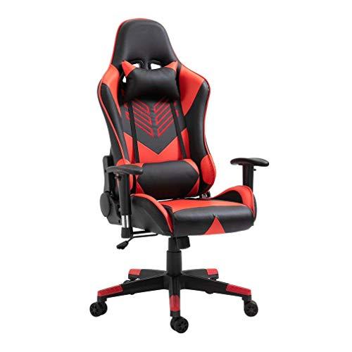 Gaming Stuhl Bürostuhl Gamer Chair 10cm Höhe/ 150° Neigung Einstellbar Mit Armlehne, Kopfstütze und Bauchstütze, Ergonomischer, Kunstleder, Stahlrahmen (Rot-9501)