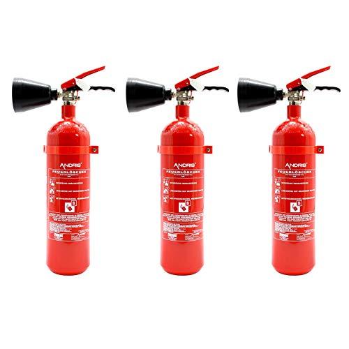 3X Feuerlöscher 2kg CO2 Kohlendioxid EDV geeignet EN 3 inkl. ANDRIS® Prüfnachweis mit Jahresmarke & ANDRIS® ISO-Symbolschild Folie