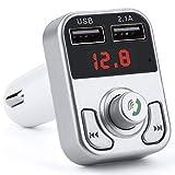NOSBEBES Transmetteur FM Bluetooth, Kit Main Libre Voiture, Bluetooth Chargeur Allume Cigare Dual USB Ports 5V Chargeur Voiture, Soutien Carte SD/Clé USB Adaptateur Radio Lecteur MP3 (Gris-Blanc)
