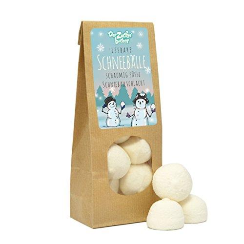 Essbare Schneebälle - süße Wundertüte, 80g Marshmallow-Bällchen mit Vanillegeschmack in Schneeball-Design, ein tolles Geschenk zu Weihnachten