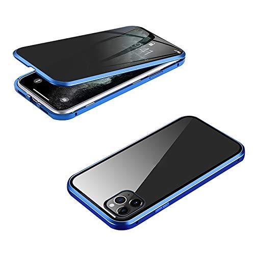 XWCG Funda para iPhone 12/12 Mini/12 Pro MAX Anti-Peep Carcasa 360° Proteccion Funda Carcasa Anti-Choques y Anti- Arañazos Cover Ambos Lados Vidrio Templado Cubierta,Azul,12