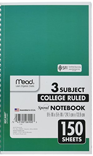 """Mead Spiral Notebook, 3 Subject, College Ruled Paper, 150 Sheets, 9-1/2"""" x 5-1/2"""", Color Selected For You (06900)"""