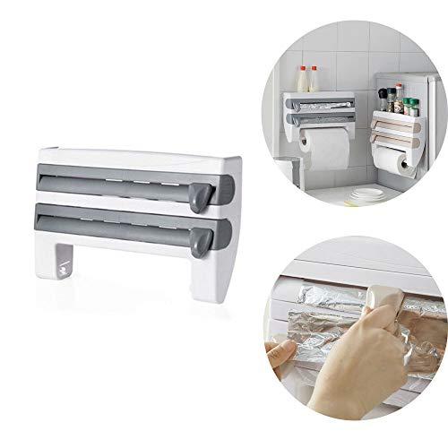 ZGL Estante de Almacenamiento de película Adhesiva multifunción, Estante Cocina Organizador Toallas Papel, Organizador refrigerador magnético, Estante Olla Especias antioxidantes (Gray)