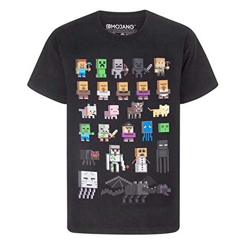 T-shirt per bambini e ragazzi, con i personaggi del videogioco Minecraft Black 7-8 Anni