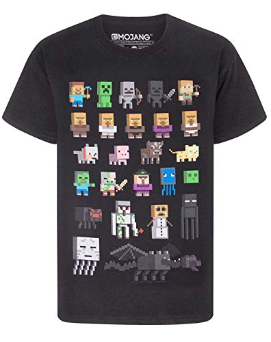 Camiseta para chicos de Minecraft Negro negro 7-8 Years