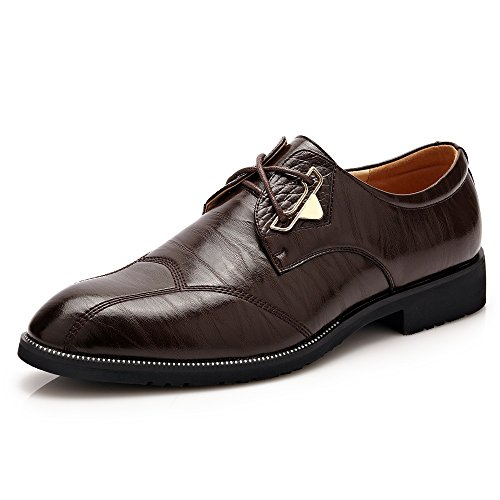 CHENJUAN Schuhe Herren Business Formal Oxfords Split PU Leder Lace Up Brautkleid Schuhe (Color : Dunkelbraun, Größe : 40 EU)