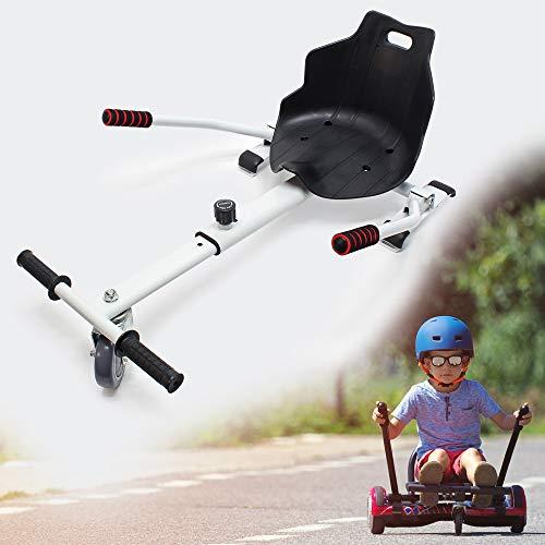 WilTec Siège de Kart Ajustable Blanc pour Adulte et Enfants Elektroscooter 120 kg Max.