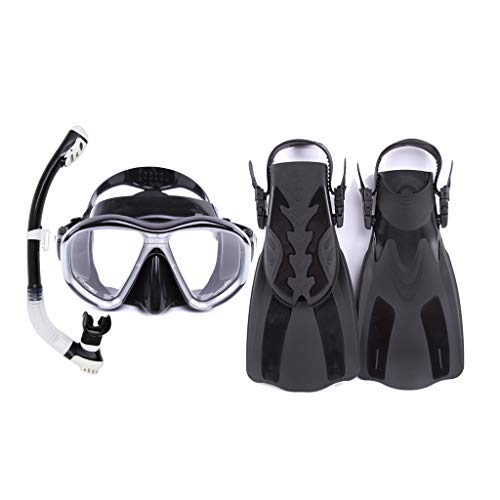 DIMPLEYA Snorkel Set with Diving Mask, Dry Top Snorkel and Open Foot Pocket Luxury Fins for Men and Women Best Snorkel Kit for Spearfishing and Scuba-Comes,C,ML/XL