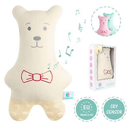My Dreamy Hummy Plüsch Eule Hochwertiges Kuscheltier mit Cry Sensor, spielt 5 Melodien und 5 White Noise Geräusche als Einschlafhilfe für Babys und Kinder