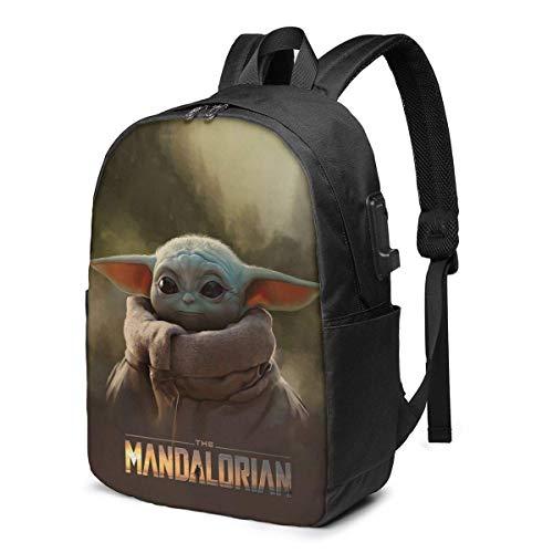 Lawenp Star W Man-Dalorian The Child Baby Yoda Mochila de Viaje Duradera Mochila Escolar Mochila para portátiles con Puerto de Carga USB para Hombres y Mujeres