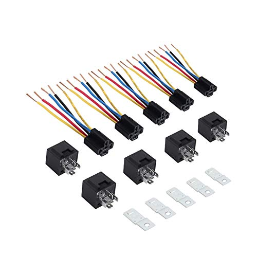 5 pares SPDT Relé con Relé Socket Cable 5 Pin 12 V 12 V DC 40A AMP Relé Socket Ajuste para Coche Auto Camión