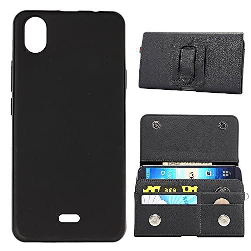 TienJueShi Funda de TPU Silicona Flip Premium Clip Cuero Tarjetas Crédito Slots Carcasas para WIKO Y51 5.45 Inch Gel Piel Protector Gel Cover Case
