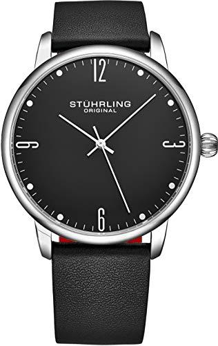 Stuhrling 3997Z - Reloj analógico para hombre con correa de piel de becerro - Diseño formal y casual - Reloj analógico con fecha, colección para hombre