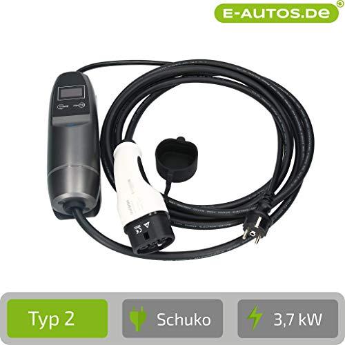 E-Autos.de Mobile Ladestation für Elektroautos & Plug-In-Hybride I Timerfunktion I 5m Kabellänge I inklusive Wandhalterung I Typ 2 (Mennekes) I 3,7 kW I 16 A I 1-phasig