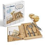 Steelblade Set Utiles Queso en Madera de Roble - Lira Queso + Tabla de Corte + Juego 3 Cuchillos Queso en Acero Inoxidable, 0522260