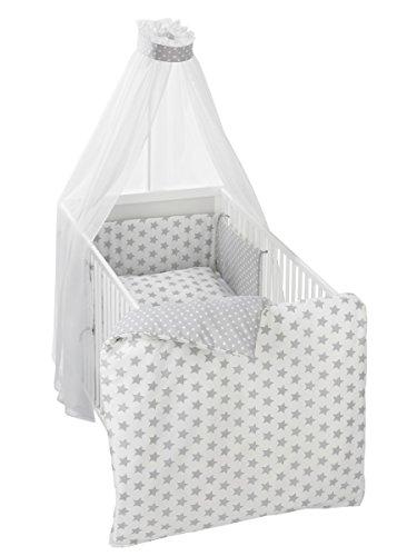 Alvi Bettset - Himmelset für Kinderbett Stars silber 608-9