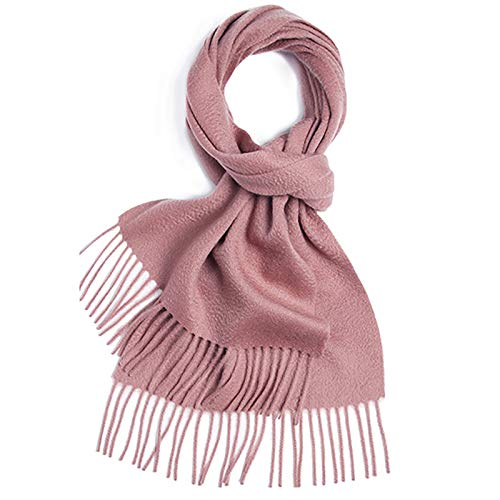 Qiming Warm Winter Shawl Pure Color Scarf Ladies Shawl Thin Section Winter All-match Ladies Scarf Long Large Scarf (Color : Smoke rose, Size : 180x30cm)
