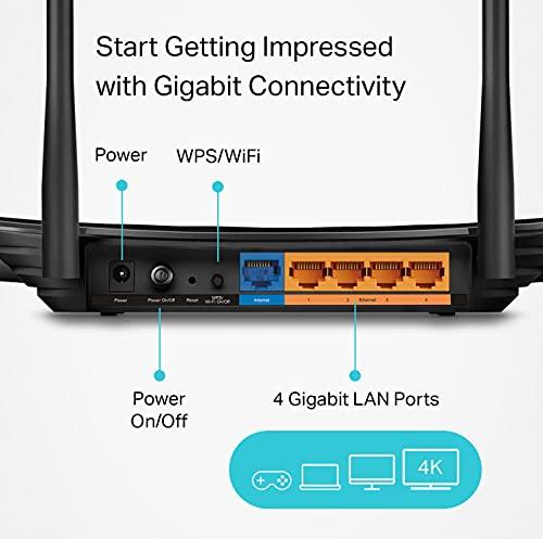 Router WiFi Gigabit AC1200 (Archer A6) - Enrutador de Internet inalámbrico MU-MIMO de banda dual de 5 GHz, compatible con Beamforming, WiFi invitado y modo AP, cobertura de largo alcance por 4 antenas