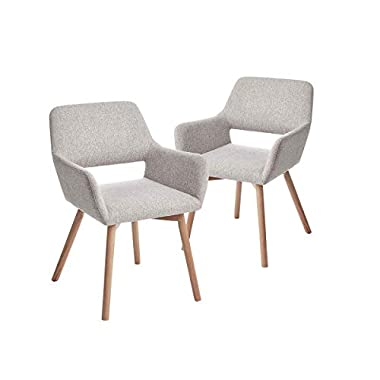 CangLong Leisure Modern Living Dining Room Accent Arm Chairs Club Guest with Solid Wood Legs, Set of 2, Grey