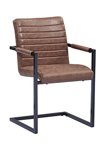 SAM® Esszimmerstuhl Stoff Wildlederoptik Parzivo, Stuhl mit Armlehnen, Schwingstuhl mit Eisen-Fuß