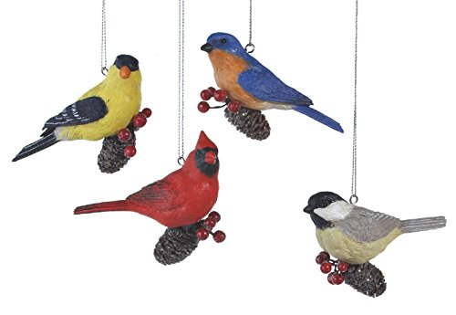Pinecone Birds Cardinal Finch Blue Bird Chickadee Christmas Ornaments Set of 4