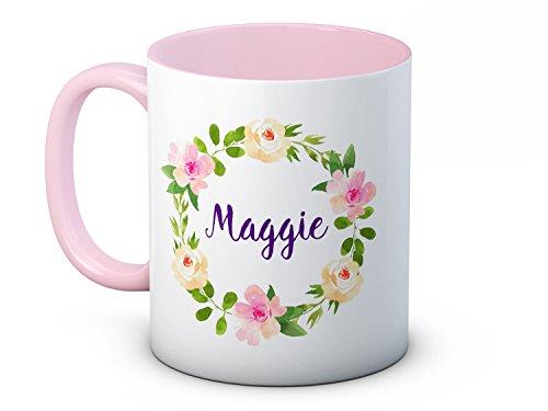 Ihr Name Jeder Name - Personalisierte Hübsches Blumenmuster - Hochwertige Keramik Kaffetasse Becher
