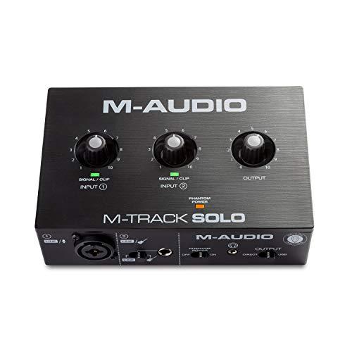 M-Audio M-Track Solo – Interface Audio / Carte Son USB pour Enregistrement, Streaming, Podcast avec Entrées XLR, Ligne et DI, ainsi qu'un Pack de Logiciels