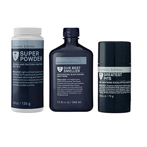 Grooming Lounge Core Values Kit - Best Smeller Men's Hydrating, Moisturizing Body Wash, Super Powder, and Deodorant Gift Set, Value Kit