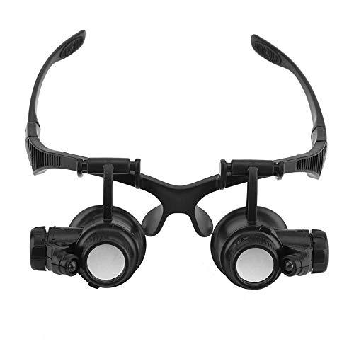 Lupenbrille Starcrafter 10X 15X 20X 25X Facher Vergrößerung ABS Lupen Brille verstellbarem LED Licht Lupe für Sammlung Wertschätzung Schmuck Uhren und Schaltung Reparatur